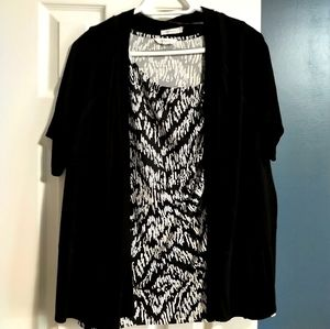 Black knit short sleeve coverup